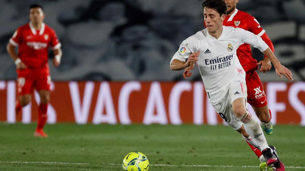 Odriozola, durante el partido ante el Sevilla