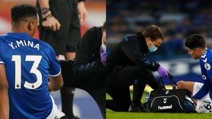 Mina y James, lesionados en diferentes partidos con el Everton.