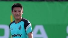 Wu Lei, sonriente, durante un entrenamiento.