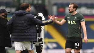 Harry Kane greets England hopeful Patrick Bamford.