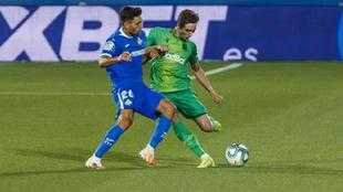Pacheco, durante el partido de su debut en Primera, cuando la Real...