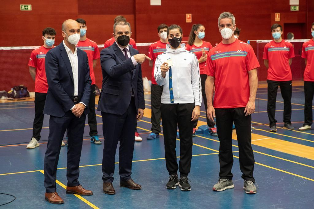Andoni Azurmendi, José Manuel Franco, Carolina Marín y Fernando Rivas.
