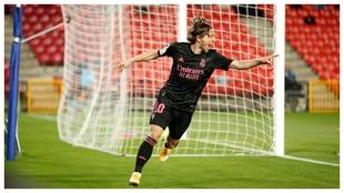 Modric grita el gol con el que el Madrid abrió el marcador en...