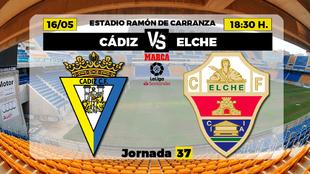 Cadiz Elche Liga - Donde ver TV Horario Canal Partidos Futbol Hoy