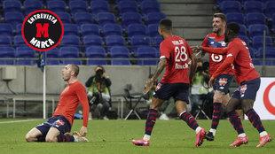 Los jugadores del Lille celebran un gol de Yilmaz.