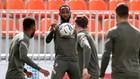 Dembélé, en un entrenamiento del Atlético.
