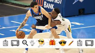 Gabriel Deck bota el balón ante Miye Oni, de los Utah Jazz