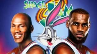 Michael Jordan y LeBron James junto a Bugs Bunny en un montaje de la...