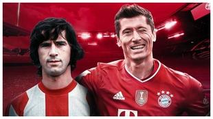Gerd Müller y Robert Lewandowski, juntos en una creatividad del FC...