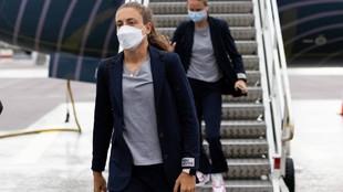 Alexia Putellas, a su llegada a Göteborg.