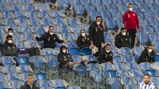 Los jugadores del Real Valladolid, en un momento del partido.