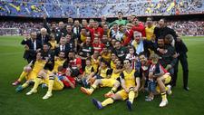 Los jugadores del Atlético celebran el título de Liga en la...