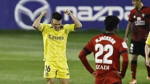 Bellvis celebra un gol en Santo Domingo en el partido ante el...
