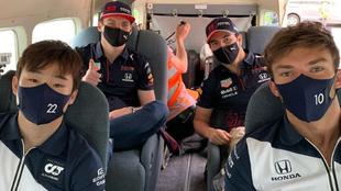 Gasly, Tsunoda, Checo Pérez y Verstappen.