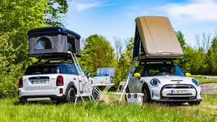 Las dos tienda de campaña de techo ofrecen espacio para dos adultos.