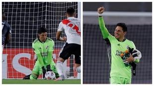 Un montaje con imágenes de Enzo Pérez durante el partido ante Santa...