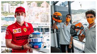 Leclerc, Ricciardo y Norris, con sus flamantes cascos para Mónaco.