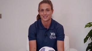 Alexia Putellas durante la entrevista con el 'Team VISA'