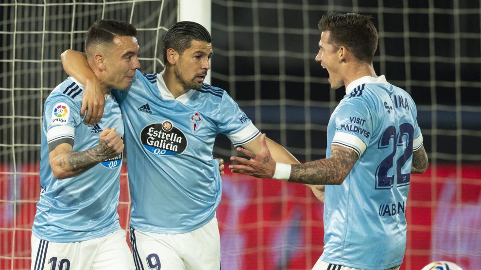 Iago Aspas, Nolito y Santi Mina, goleadores del Celta de esta campaña
