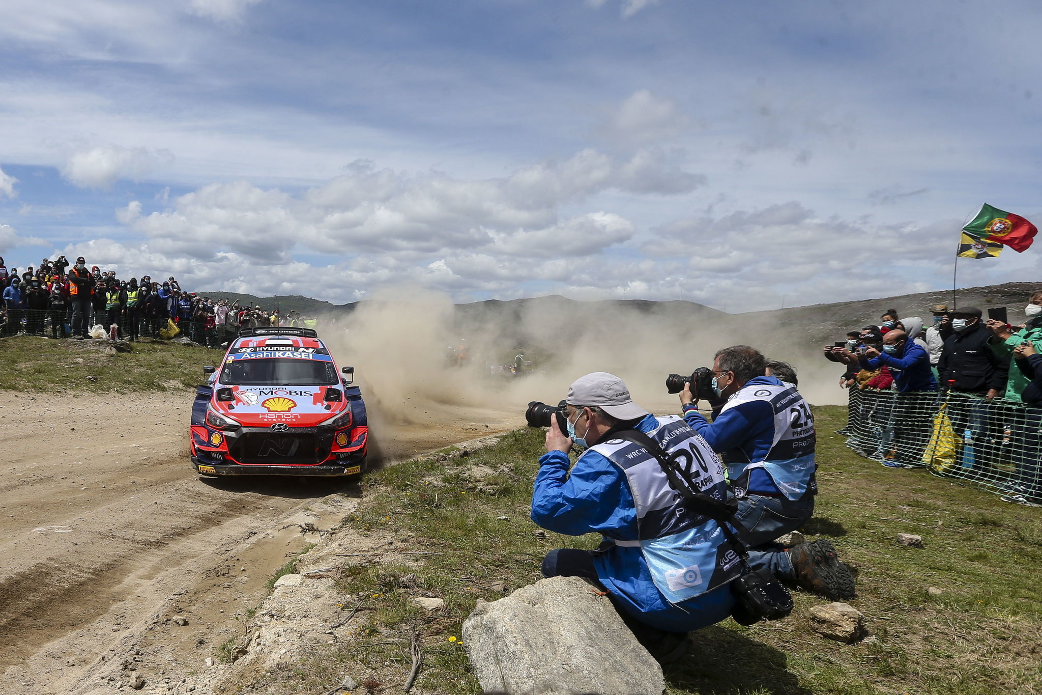 Vieira Do Minho (Portugal), 22/05/2021.- Ott Tanak of Estonia drives his Hyundai i20 Coupe WRC during Day 2 of the lt;HIT gt;Rally lt;/HIT gt; Portugal 2021 as part of the FIA World lt;HIT gt;Rally lt;/HIT gt; Championship (WRC) near Vieira do Minho, Portugal, 22 May 2021. EFE/EPA/JOSE COELHO