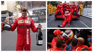 Carlos Sainz celebra su segundo puesto en el GP de Mónaco.