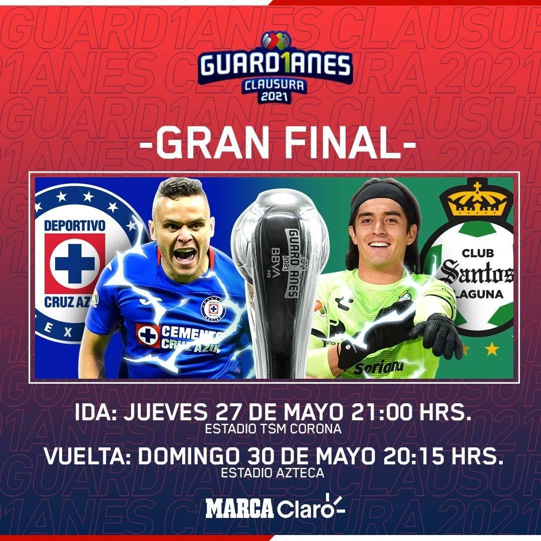 Cruz Azul vs Santos, por el título del Guardianes 2021