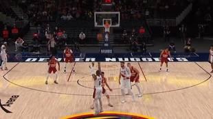 Damian Lillard anota desde el logo de la cancha de los Denver Nuggets