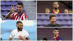 Luis Suárez, Benzema, Pjanic, Simeone y Pedri