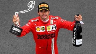 Carlos Sainz, con el trofeo de segundo clasificado en el Gran Premio...