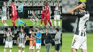 La decepción en los gestos de los jugadores del Castellón tras caer...