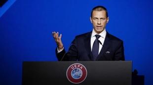 Aleksander Ceferin, presidente de la UEFA, durante una intervención.