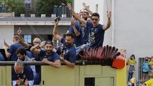 Los jugadores del Villarreal se lo pasaron en grande en la...