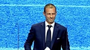 Aleksander Ceferin, presidente de la UEFA, durante una comparecencia.