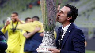 Unai Emery tras el triunfo del Villarreal en la Europa League.