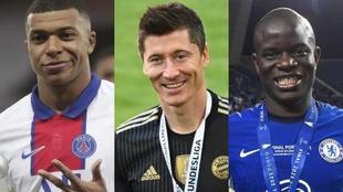 Mbappé, Lewandowski y Kanté, los favoritos para ganar el Balón de...