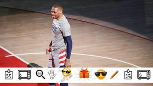Russell Westbrook antes del partido ante los Sixers