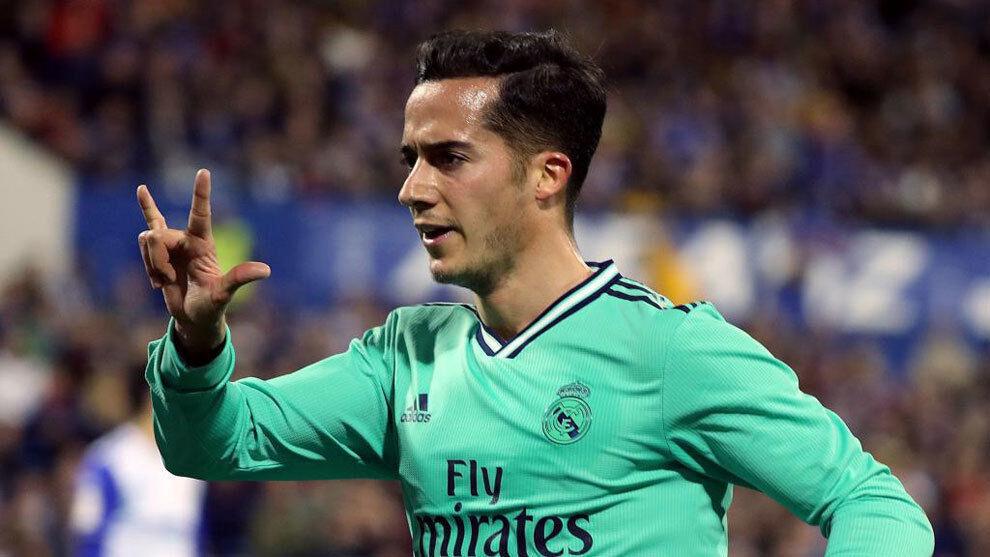 Lucas Vázquez celebrando un gol con el Real Madrid.