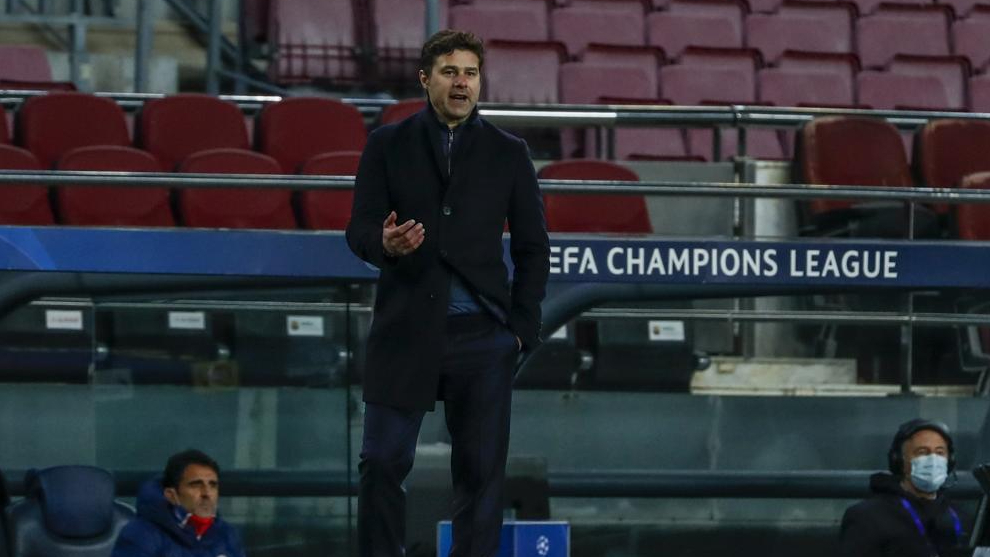 Mauricio Pochettino, durante un partido de Champions con el PSG
