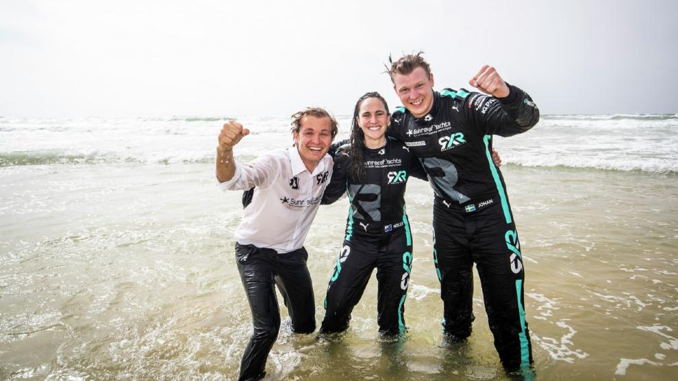 Nico Rosberg, Johan Kristoffersson y Molly Taylor, eufóricos.