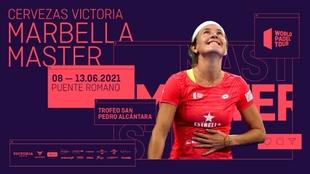 Cartel del Cervezas Victoria Marbella Master 2021, con Carolina...