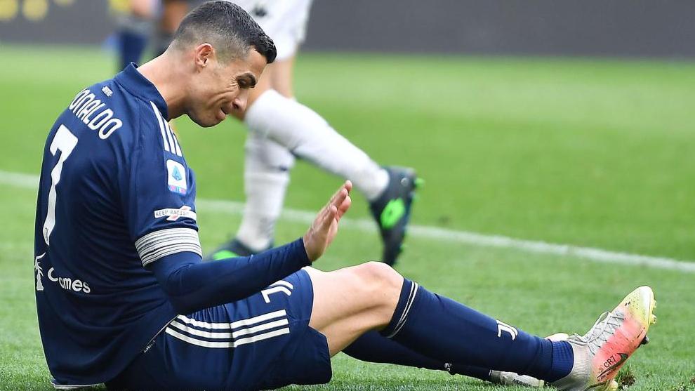 Cristiano se lamenta en un partido con la Juve esta temporada.