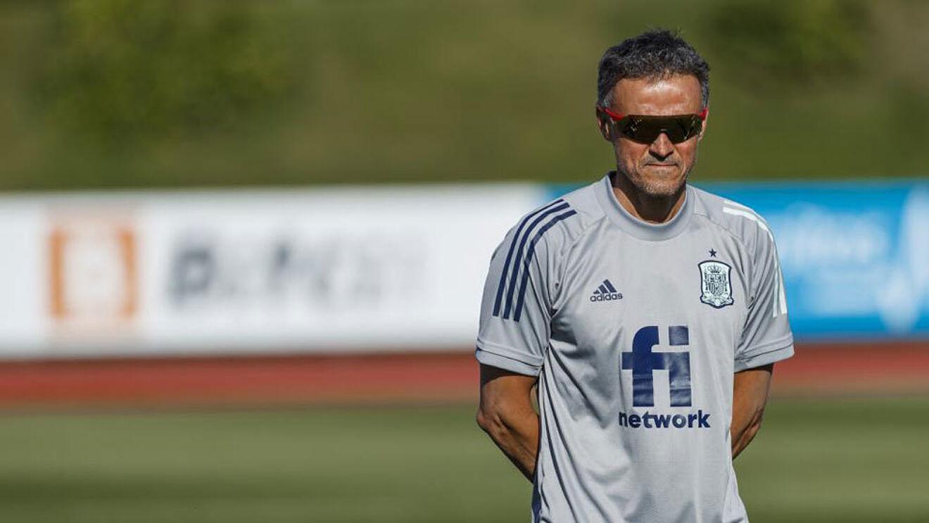 Luis Enrique (51) en un entrenamiento de la selección española.