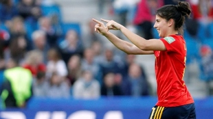 La jugadora del Athletic Club de Bilbao, Lucía García, en un partido...