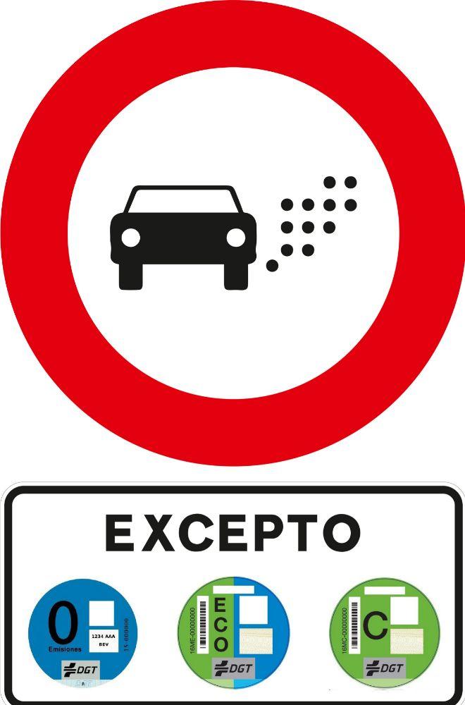 Señal de Zona de Bajas Emisiones de la DGT, señal de tráfico, DGT