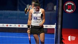 Delfina Brea celebra un punto durante la final del Santander Open