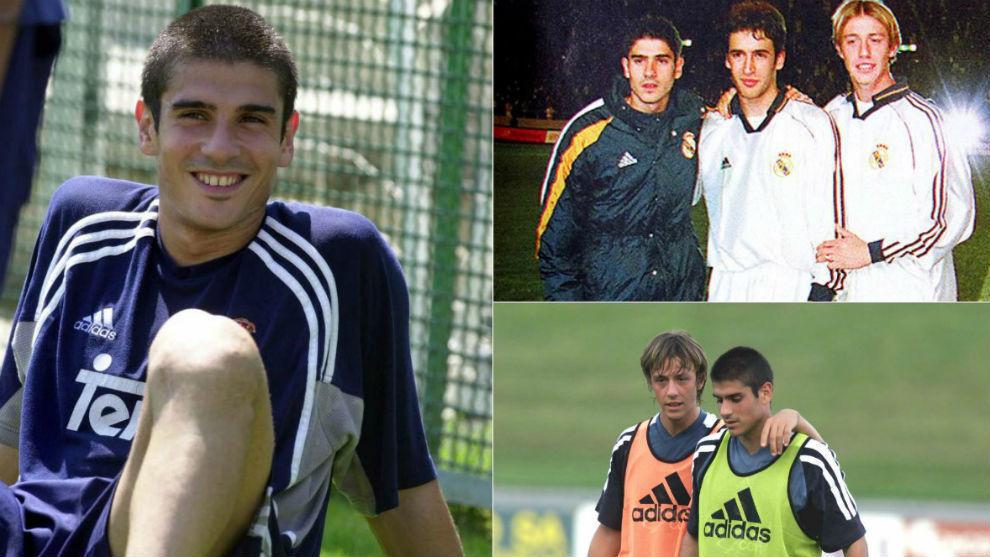 Álvaro Benito (44) en su etapa de jugador del Real Madrid junto a Raúl (43) y Guti (44).
