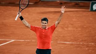 Switzerland's Roger Federer after defeating Germany's...