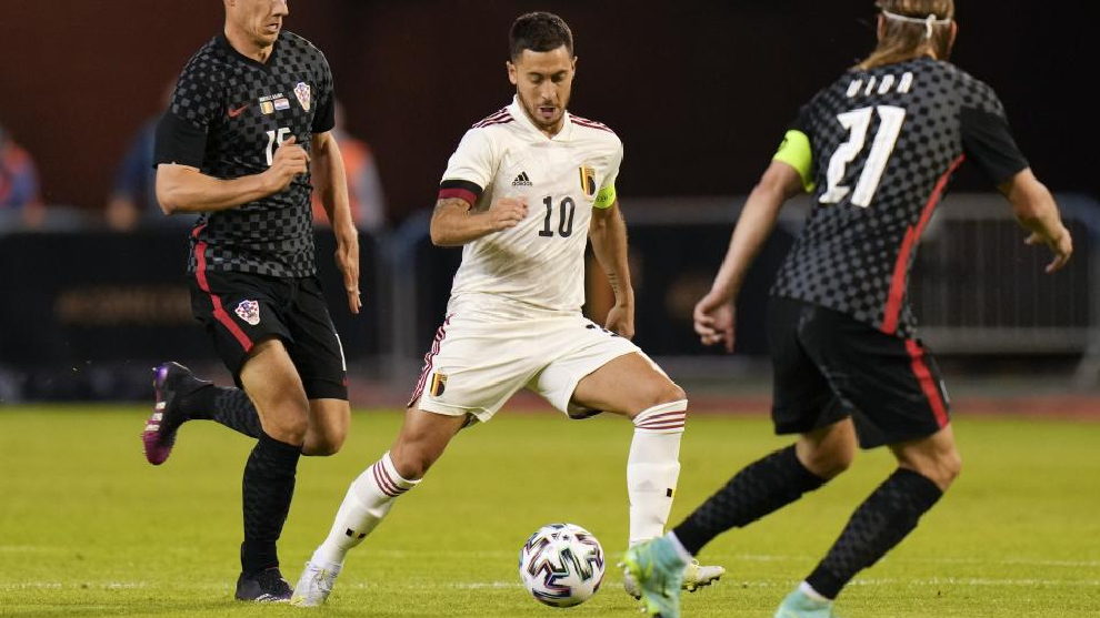 Eden Hazard, en el reciente encuentro que Bélgica ha disputado ante Croacia.