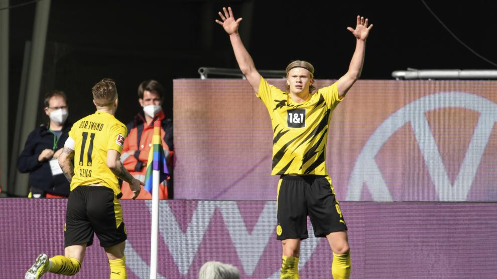 Erling Haaland celebra un gol con el Borussia de esta pasada temporada.