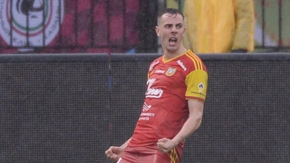 El montenegrino, celebrando un gol con su ya ex equipo, el Lokomotiv de Moscú.